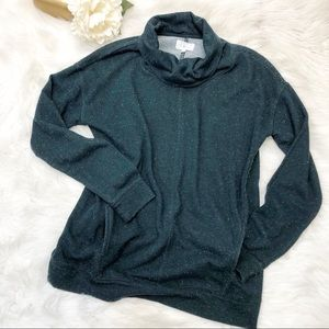 Lou & Grey Teal Speckled Cowl Neck Sweater S ::M17